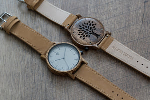 The Gaston Wood Watch- Zebra wood- Brown Leather - Wood watches