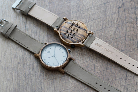The Gaston Wood Watch- Zebra wood- Concrete Leather