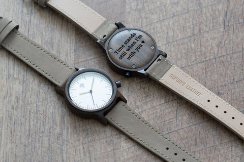 The Gaston Wood Watch- Womens Model- Chanate- Concrete Leather