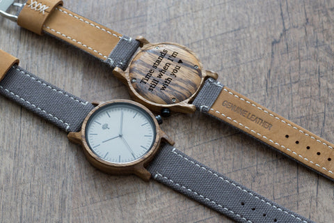 The Gaston Wood Watch- Zebra wood- Grey Canvas