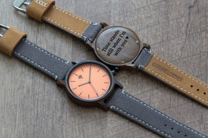 The Gaston Wood Watch- Chanate wood- Orange- Grey Canvas - Wood watches