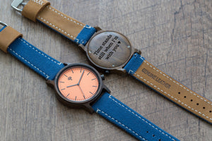 The Gaston Wood Watch- Chanate wood- Orange- Blue Canvas - Wood watches