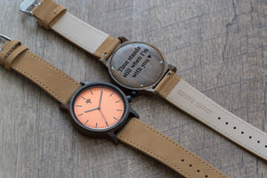 The Gaston Wood Watch- Chanate wood- Orange- Brown Leather - Wood watches
