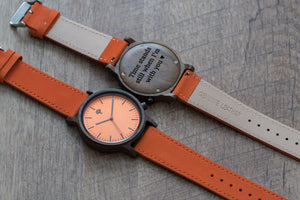The Gaston Wood Watch- Chanate wood- Orange- Orange Leather - Wood watches