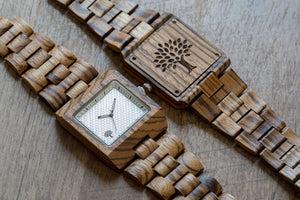 The Glenwood Wood Watch - Zebrawood- White - Wood watches
