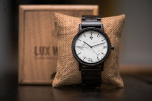 The Gaston Wood Watch- White Marble 44mm