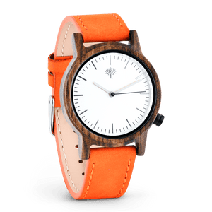 The Gaston Wood Watch- Womens Model- Chanate- Orange Leather - Wood watches