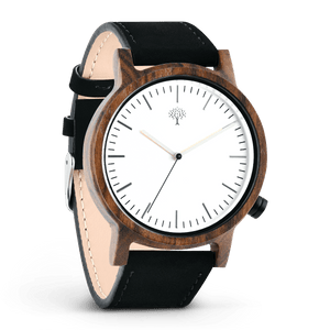 The Gaston Wood Watch- Chanate wood- Silver- Black Leather - Wood watches