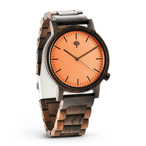 The Gaston Wood Watch- Chanate wood- Orange- Wood Band - Wood watches