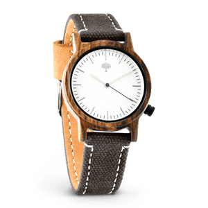 The Gaston Wood Watch- Womens Model- Chanate- Grey Canvas - Wood watches