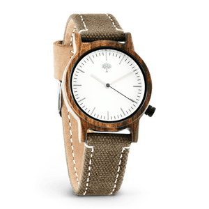 The Gaston Wood Watch- Womens Model- Chanate- Green Canvas - Wood watches