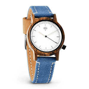 The Gaston Wood Watch- Womens Model- Chanate- Blue Canvas - Wood watches