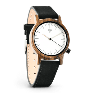 The Gaston Wood Watch- Womens Model- Chanate- Black Leather - Wood watches