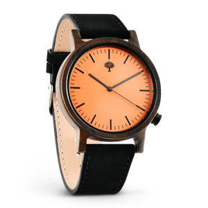 The Gaston Wood Watch- Chanate wood- Orange- Black Leather - Wood watches