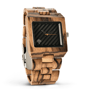 The Glenwood Wood Watch - Zebrawood- Black - Wood watches