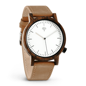 The Gaston Wood Watch- Chanate wood- Silver- Brown Leather - Wood watches