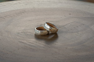 Whisky Barrel Wood Ring- Bright Finish- Damascus Whiskey Barrel Wood Inlay Ring - Wood watches