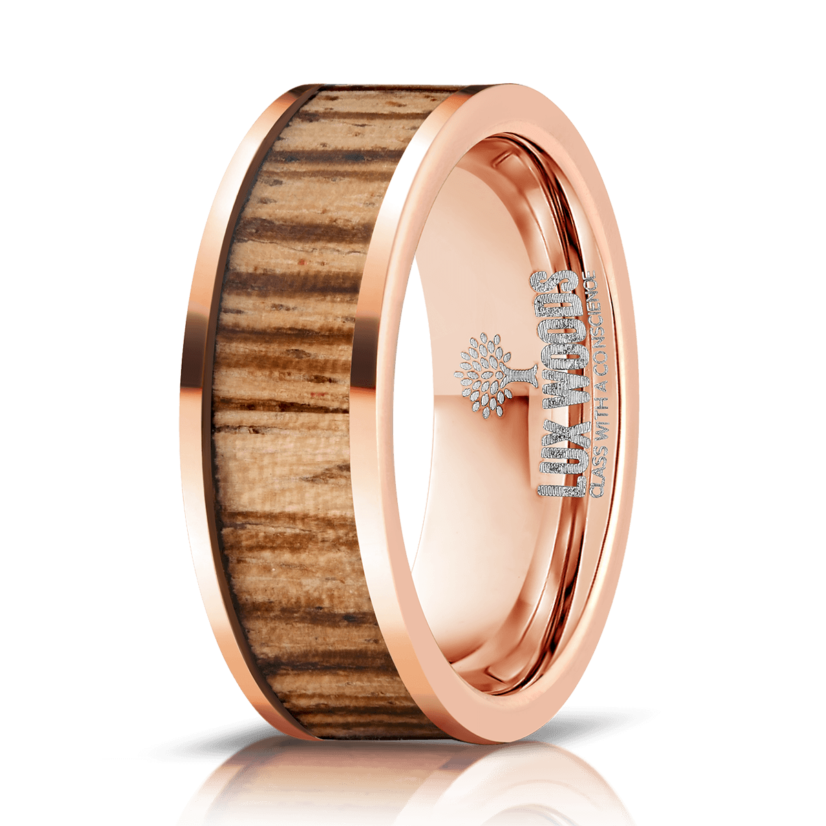 Rose Gold Plate Tungsten Carbide- Zebrawood Inlay