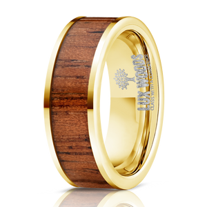 Wood Ring-Yellow Gold Electroplated Finish- Tungsten Carbide Burl Wood Inlay Ring - Wood watches
