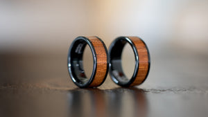 Wood Ring- Black Electroplated Finish- Tungsten Carbide Burl Wood Inlay Ring - Wood watches