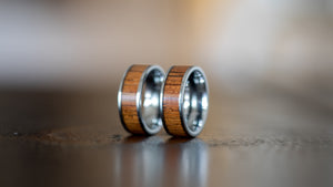 Bright Tungsten Carbide- Sapele Wood Inlay