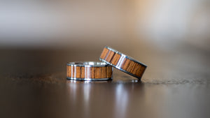 Bright Finish- Tungsten Carbide Burl Wood Inlay Ring - Wood watches