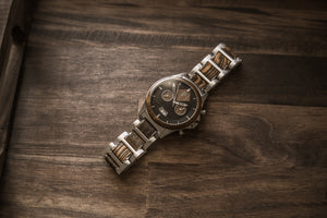 The Dawson Wood Watch -316L Stainless x Gold Sandalwood