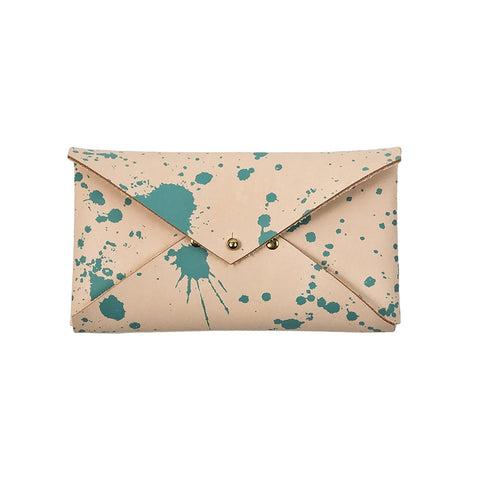 Leather Paint Splatter Clutch