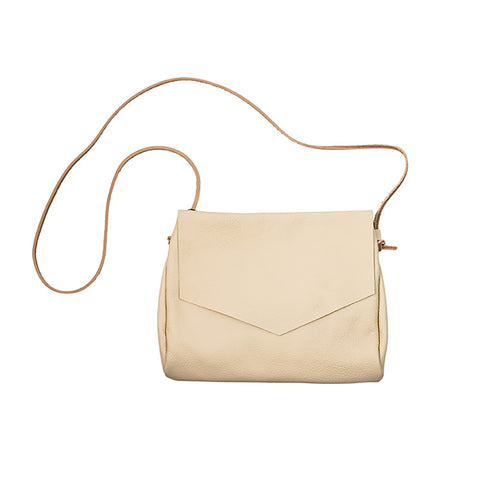Ivory Leather Envelope Crossbody
