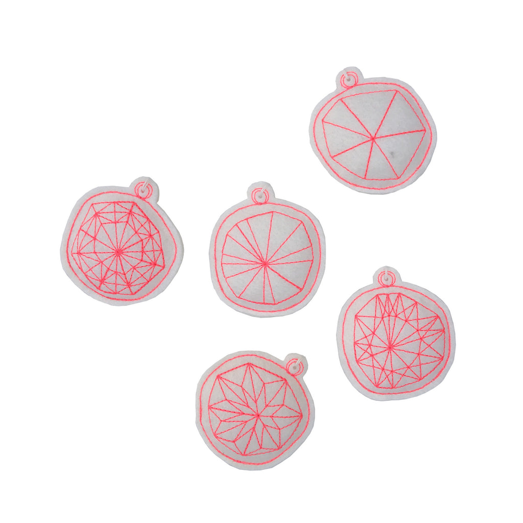 Neon Stitched Ornament Set