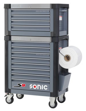 Sonic Tools Empty S9 Toolbox + Topbox, 8 Drawers (Dark Grey)