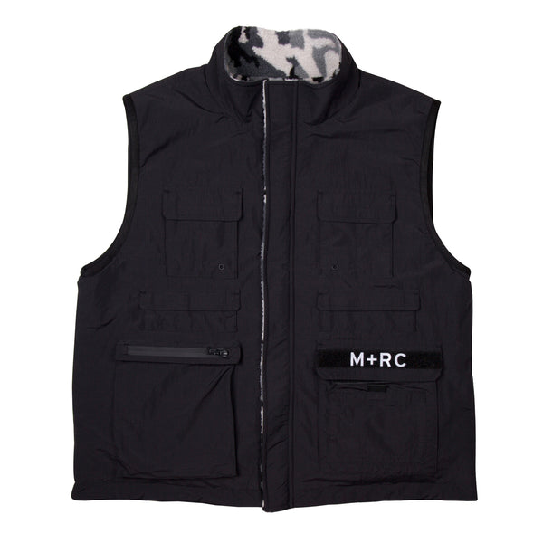"""TRIBUTE"" REVERSIBLE MULTI-POCKET VEST BLACK CAMO FLEECE"