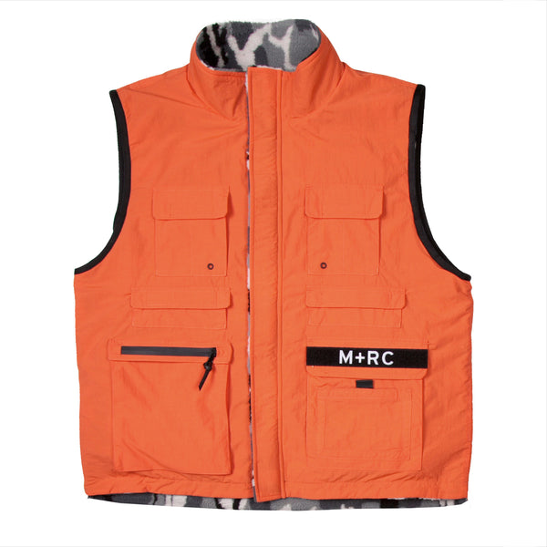 """TRIBUTE"" ORANGE REVERSIBLE MULTI-POCKET VEST BLACK CAMO FLEECE"