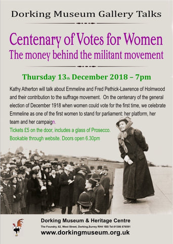 Centenary of Votes for Women - Gallery Talk - 13th December - 7pm