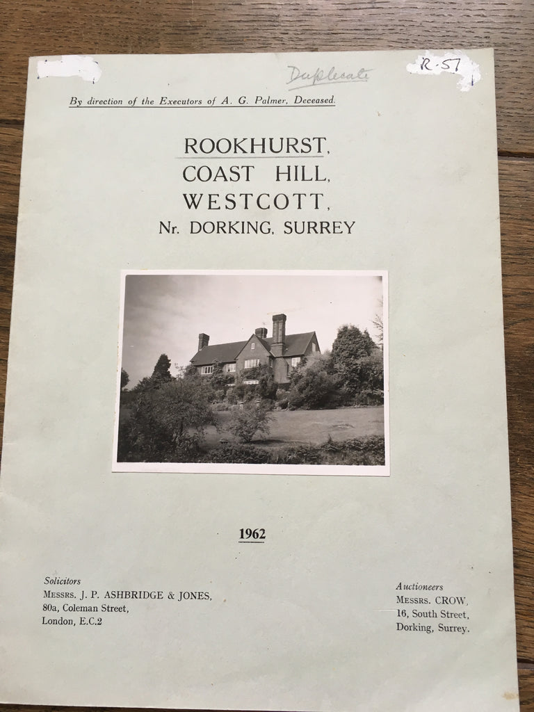 Rookhurst, Coast Hill, Westcott Sales Particulars