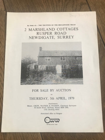 2 Marshland Cottages, Rusper Road, Newdigate 1979 Sales Particulars