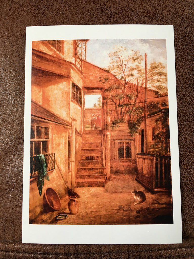 John Beckett - Postcard of Courtyard with Cat and Robin. South Street, Dorking (1799-1864)