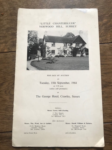 """Little Chantersluer"" Norwood Hill, Surrey 1964 Sales Particulars"