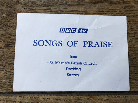 'Songs of Praise' Ticket and Timetable