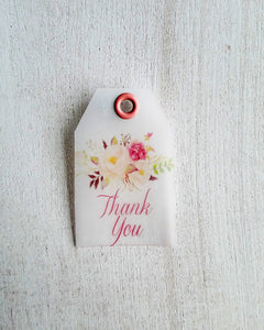 Ivory Watercolor Floral Baby Shower Favor Tags - Kaela Party Craft