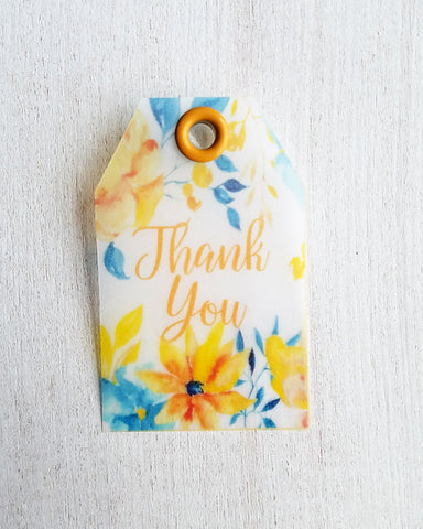 Blue Yellow Floral Baby Shower Favor Tags - Kaela Party Craft