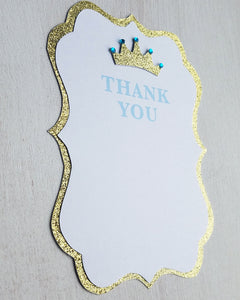 Blue and Gold Baby Shower Thank You Cards