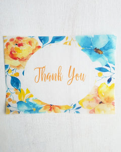 Blue Yellow Floral Baby Shower Thank You Cards - Kaela Party Craft