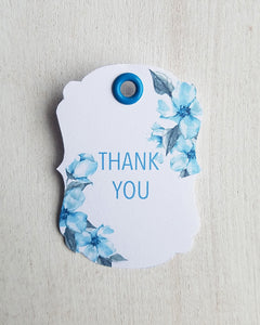 Blue Floral Baby Shower Favor Tags - Kaela Party Craft