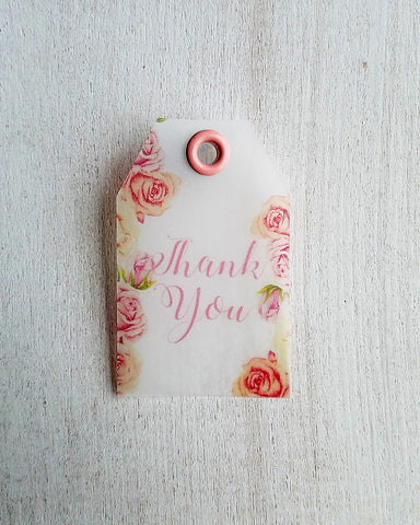 Blush Pink Peach Floral Baby Shower Favor Tags - Kaela Party Craft
