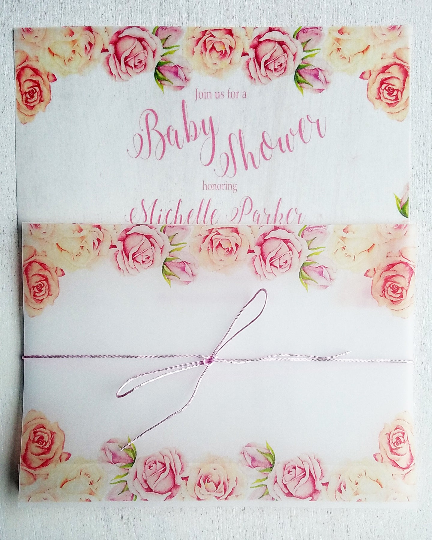 Blush Pink Peach Floral Baby Shower Invitations - Kaela Party Craft