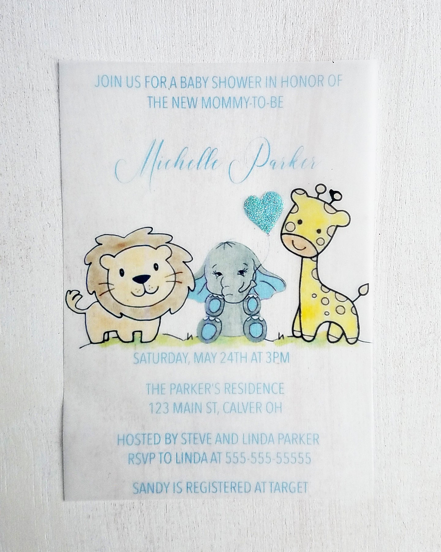 Boy Safari Baby Shower Invitations