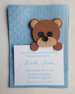 Boy Teddy Bear Baby Shower Invitations - Kaela Party Craft