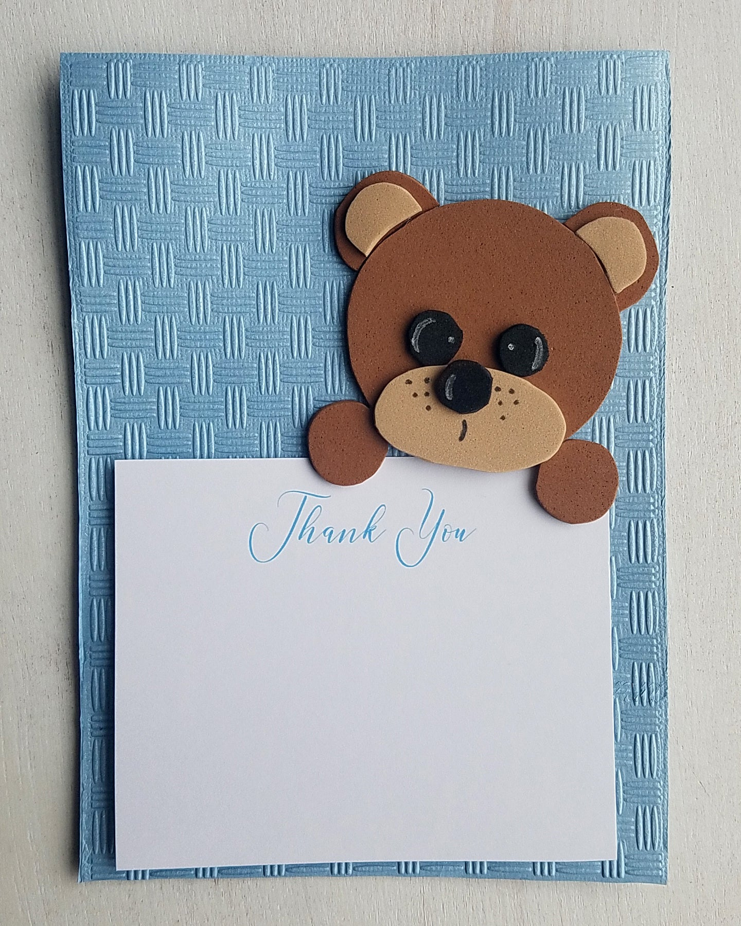 Boy Teddy Bear Baby Shower Thank You Cards - Kaela Party Craft