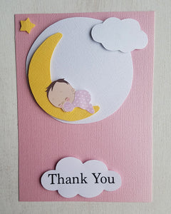 Girl Twinkle Little Star Baby Shower Thank You Cards